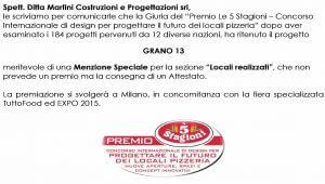 Premio Le 5 Stagioni  Concorso Internazionale di design per progettare il futuro dei locali pizzeria
