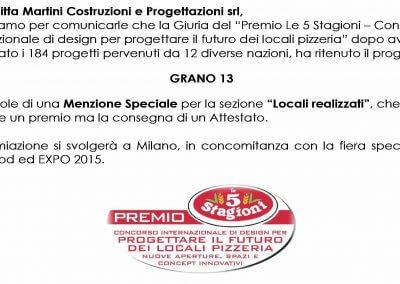 Pizzeria grano 13 - Premio 5 stagioni